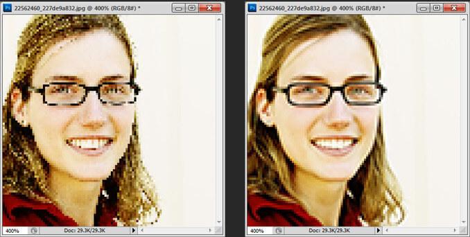 An image downsampled using nearest neighbor versus anti-aliasing interpolation