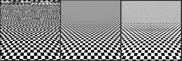 Computer-rendered checkerboards using varying kinds of anti-aliasing