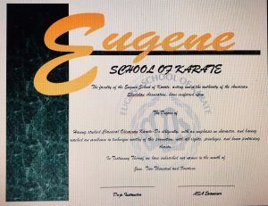 Eugene School of Karate promotion certificate